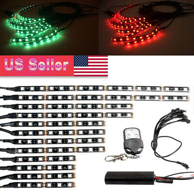 12Pcs Motorcycle RGB 120LED Waterproof Under Glow Lights Strip Neon Kit + Remote