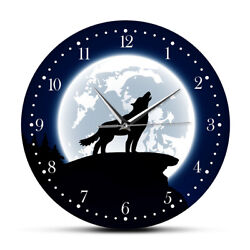 Wilderness Wall Art Howling Wolf With Moon Round Mute Wall Clock Watch Decor