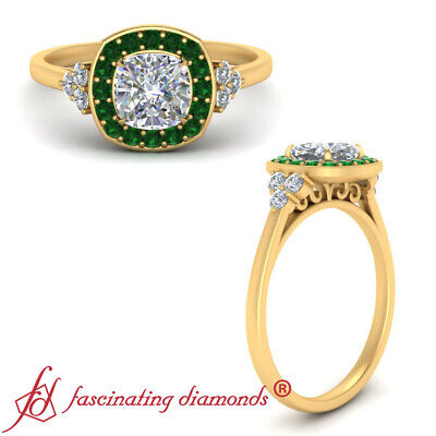 Halo Engagement Ring With 1.25 Carat Cushion Cut Diamond And Emerald Gemstone