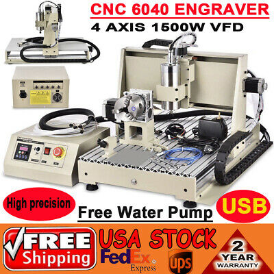 Usb Ballscrew 1500w 6040 Cnc Router Engraver 4 Axis Engraving Milling Machine