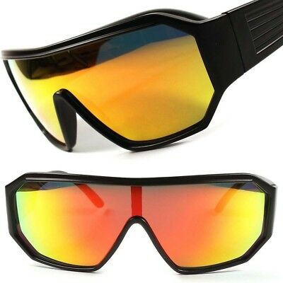 Retro Futuristic Sci-Fi Party Costume Red Mirrored Lens Black Wrap Sun Glasses](Costume Fi)