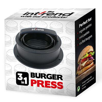 Int!rend   3 in 1 Burger Press - Hamburger   Burgerpresse   Patty Maker   BBQ Burger Presse