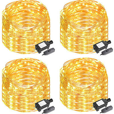 4 x Mellow White 20M/65FT 200LED Copper Wire Outdoor String Fairy Firelight Lamp Decor