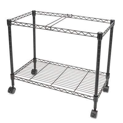 2 Tiers Layer Metal Rolling Mobile File Cart Office Supplies W Wheels Black New