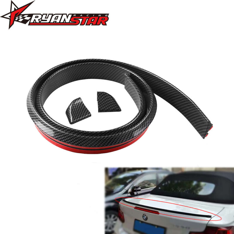 4.9ft JDM Carbon Valance Rear Rubber Soft Roof Trunk Spoiler Wing Lip Sticker