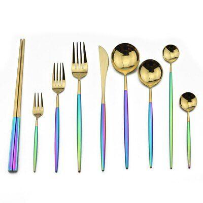 18/10 Stainless Steel 1p Dinner Flatware Set Rainbow Kitchen Silverware Set 10 Stainless Steel Flatware Set