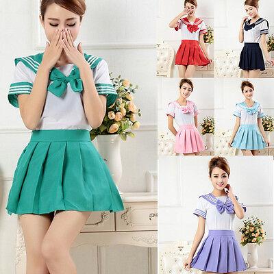 Mode School Schulmädchen Uniform Cosplay Kostüm Sailor Dress Schuluniform S-XXL