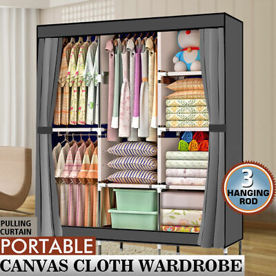 "71"" Portable Closet Wardrobe Clothes Rack Storage Organizer With Shelf Fabric"