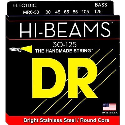 Beams 6 String Bass - DR MR6-30 6 string HI-Beams Bright Stainless Steel Bass Guitar Strings 30-125 MD