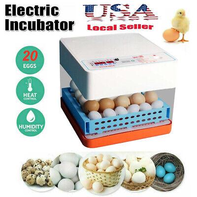 20 Eggs Fully Automatic Incubator Digital Poultry Hatcher Egg Turning LED Lamp