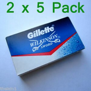 10 x Gillette Wilkinson Sword Stainless Double Edge Safety Razor Blades Shave
