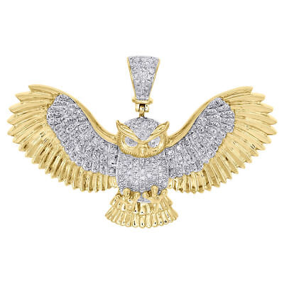 10K Yellow Gold Over 1.00 CT Diamond Owl Pendant Flying Wings 1.25