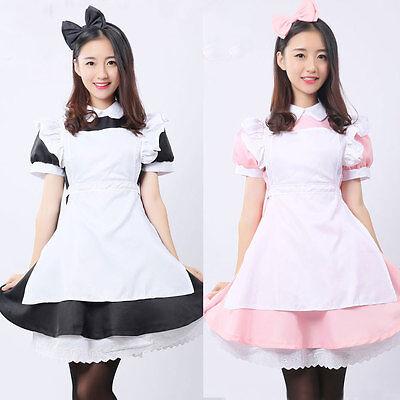 Pink Black White Women Girl Maid Cosplay Maids Costume Alice Lolita Fancy Dress (Costume Black And White)