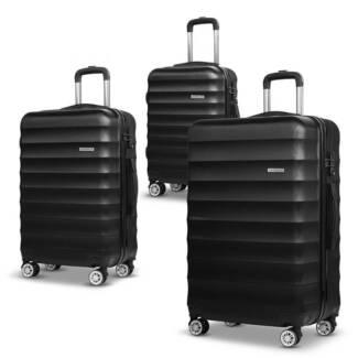 Set of 3 Hard Shell Lightweight Travel Luggage with TSA Lock Blac