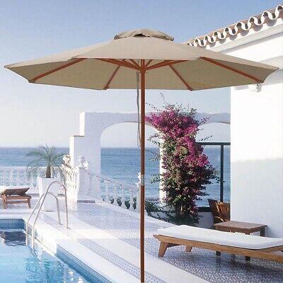 NEW 9' Wood Outdoor Umbrella Pulley Patio Market Garden Yard Beach Pool Tan -