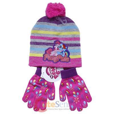 My Little Pony Mütze Handschuhe Set Gestrickt Regenbogen Gestreift Pom
