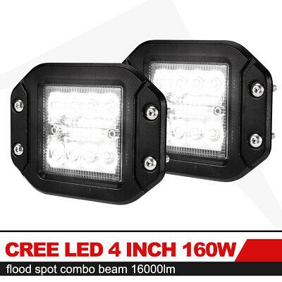 """2x 5inch 160W Flush Mount CREE LED Work Light Pods Combo Driving Lamp 12V 24V 5"""""""