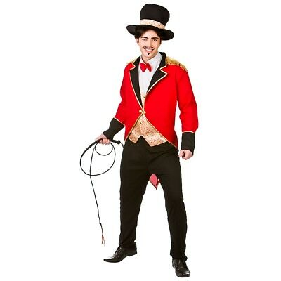 Adult Circus Ringmaster Fancy Dress Costume Mens Big Top Performer Lion Tamer - Lion Tamer Male Costume