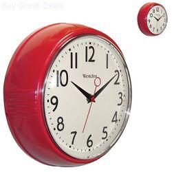 Vintage Look Wall Clock Retro 1950 Red