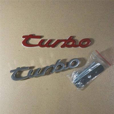 Chrome turbo Metal Grille Emblem + Red Badge Sticker Sport 911 718 gts Engine 4s
