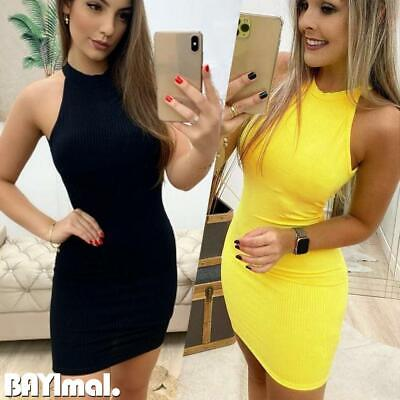 Womens Halter Neck Backless Mini Dress Ladies Casual Party Sexy Bodycon Dresses