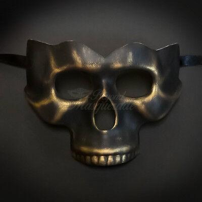 Black & Gold Masquerade Mask, Skull Mask, Venetian Cosplay Costume Mask M0017 - Gold Masquerade Masks