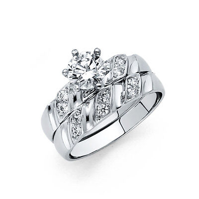Women 14k White Gold Solitaire Round CZ Wedding Bridal Set Engagement Ring Band