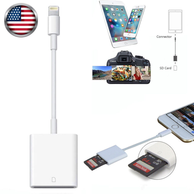 Camera Reader Lightning to SD Card Adapter For iOS 9.2+ iPhone XS XR Max 11 iPad