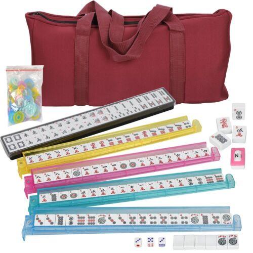 American Mahjong Game Western Mahjongg Set 166 Tiles 4 PUSHERS & Free Soft Bag Board & Traditional Games