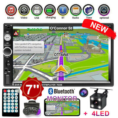 """7"""" Car Stereo Radio Mirror Link for GPS Double 2Din TOuch Screen MP5 Player +Cam"""