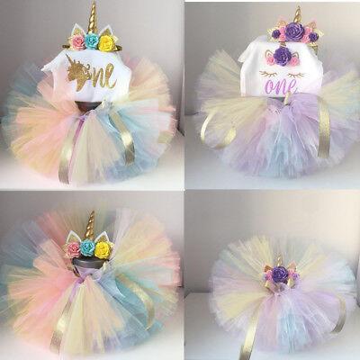 Unicorn Tutu Dress Baby Girls 1st Birthday Rainbow Party Romper Outfits Photos
