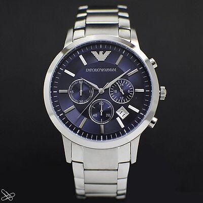 Emporio ARMANI Elegante Herrenuhr AR2448 Chronograph Farbe: Silber Blau online kaufen