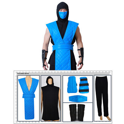 Mortal Kombat Sub Zero Cosplay Costume Blue Outfit Full Set for Men