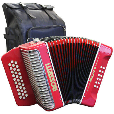 Rossetti MAGISTRO 31 Button 12 Bass GCF Sol Diatonic Accordion Red with Gig Bag