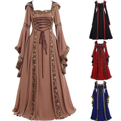 UK Women Vintage Renaissance Medieval Maxi Dress Halloween Gothic Party Costumes