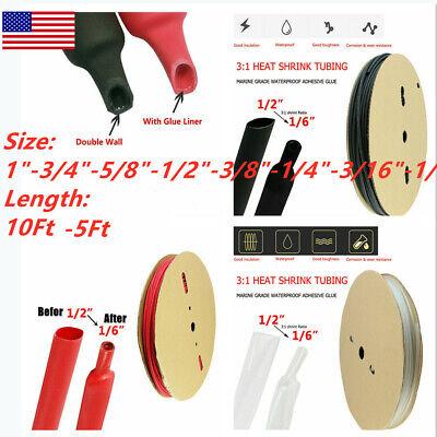 5-10ft Dual-wall Adhesive Glue Lined Heat Shrink Tube 31 Ratio Blackredclear