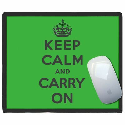 Green Keep Calm And Carry On - Thin Pictoral Plastic Mouse Pad Mat Badgebeast