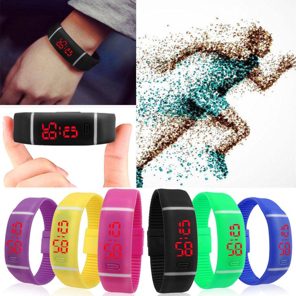 Sports LED Wrist Watch Silicone Rubber Digital Running Womens Mens Boys Girls