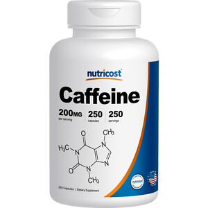 Nutricost Caffeine Pills, 250 Capsules, 250 Servings, 200mg Per Serving