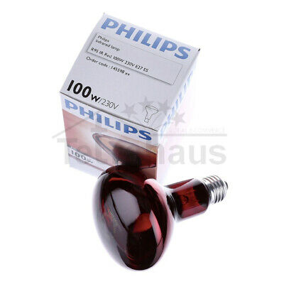 Philips Infrared Lamp Hard Glass R95 100W Bulb E27 Thermotherapy Infracare
