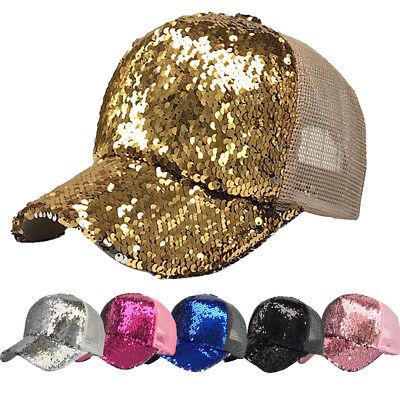 Women Ponytail Baseball Cap Sequins Shiny Messy Bun Snapback Hat Sun Caps