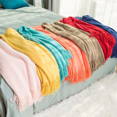 Solid Color Throw Blanket Soft Warm Spring Fringe Tassel Home Decor Sofa -