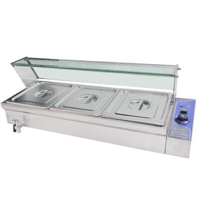 3 Pan Bain Marie Buffet Countertop Food Warmer Steam Table Steamer Wet Heat 110v
