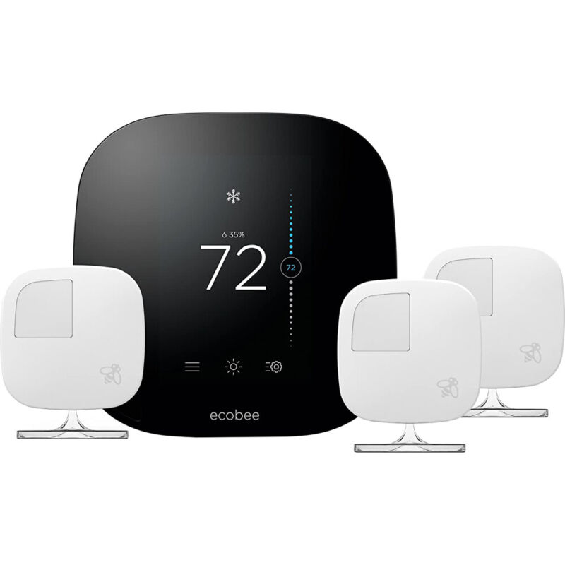 Ecobee 3 Smart Thermostat & 3 Room Sensors, Works with Alexa - Open Box