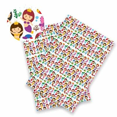 22*30 cm Cartoon Girls Printed Synthetic PU Leather Fabric DIY Crafts Materials