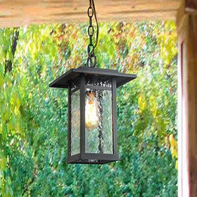 - 1-Light Transitional Pendant Lights Black Outdoor Hanging Lights