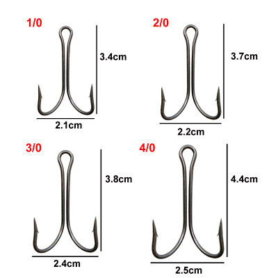 100Pcs Fishing Hooks Saltwater Dual Double Hook High Carbon Steel New