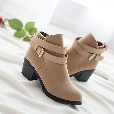 Women Winter Snow Low Heel Ankle Boot Buckle Wedge Martin Boots Ladies Shoes  2