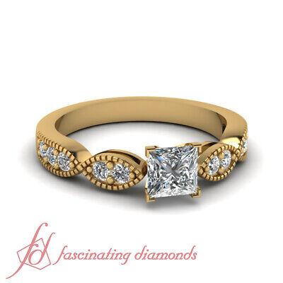 Princess Cut Diamond Milgrain Twist Engagement Ring In 18K Yellow Gold 0.90 Ctw