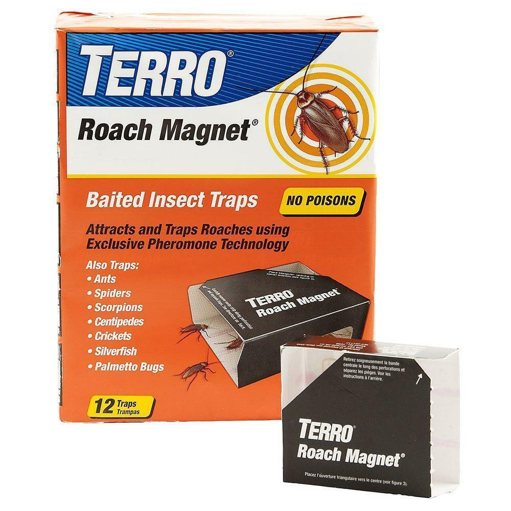 TERRO ROACH MAGNET TRAPS, Cockroach Glue Trap Bait Motel, T-256 Pack of 12 traps Home & Garden